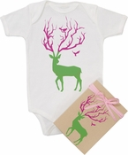 "Organic Cotton Printed  Bodysuit  ""Deer"""