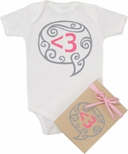 "Organic Cotton Printed  Bodysuit  ""Digital Love - Pink"""