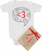 "Organic Cotton Printed  Bodysuit  ""Digital Love - Red"""