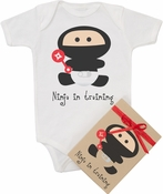"Organic Cotton Printed  Bodysuit  "" Ninja in Training"""