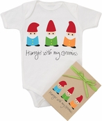 "Organic Cotton Printed  Bodysuit  ""Hang'n With My Gnomies"""