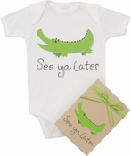 "Organic Cotton Printed  Bodysuit  ""See Ya Later"""