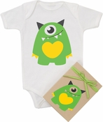 "Organic Cotton Printed  Bodysuit  ""One Eye Monster"""