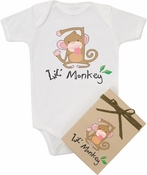 "Organic Cotton Printed  Bodysuit  ""Lil Monkey"""