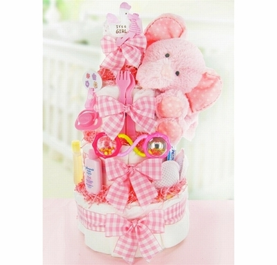 Gingham & Giggles 3 Tier Diaper Cake-Girl