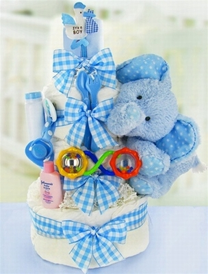 Gingham & Giggles 3 Tier Diaper Cake-Boy