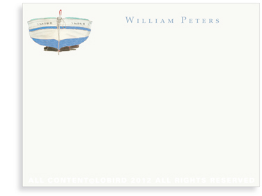 Blue Boat - Flat Note cards