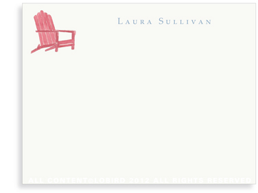 Red Adirondack Chair - Flat Note cards