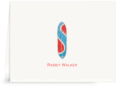 Blue Rabbit Surfboard - Folded Note Cards