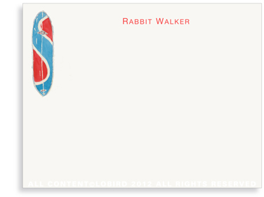 Blue Rabbit Surfboard - Flat Note cards