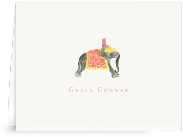 Princess Riding Elephant - Folded Note Cards