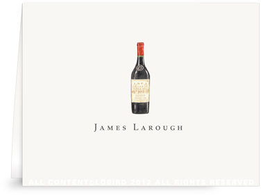 Bottle Vintage Red Wine - Folded Note Cards