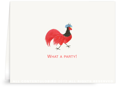 Rooster with Ice Bag - Folded Note Cards