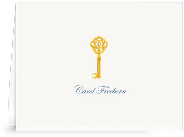 Gold Key - Folded Note Cards