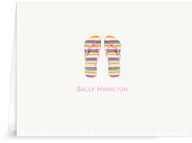 Striped Flip Flops - Folded Note Cards
