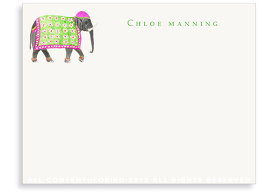 Festive Elephant with Floral Tapestry - Fuchsia - Flat Note Cards
