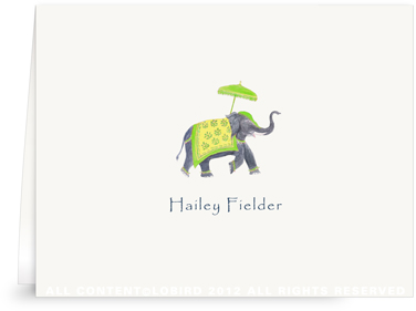 Festive Elephant - Green/Yellow - Folded Note Cards