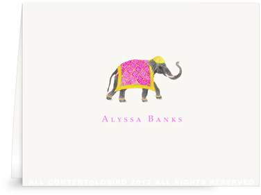 Festive Elephant with Bead Tapestry-Fuchsia - Folded Note Cards