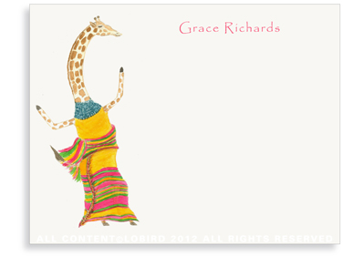 Dancing Giraffe - Flat Note cards
