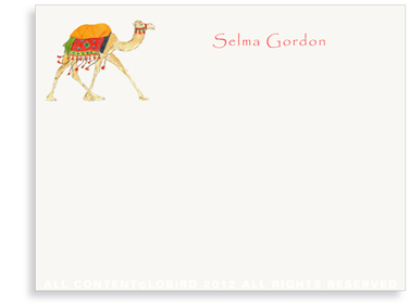 Festive Camel - Red - Flat Note Cards