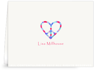 Peace Heart - Red/Blue - Folded Note Cards