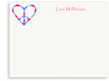 Peace Heart - Red/Blue - Flat Note Cards