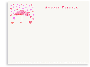 Umbrella with Raining Hearts - Flat Note Cards