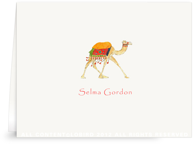 Festive Camel - Red - Folded Note Cards