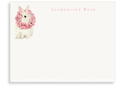 White Rabbit with Magnolia Wreath - Flat Note Cards