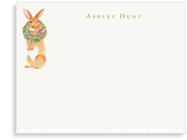 Brown Rabbit with Peony Wreath - Flat Note Cards