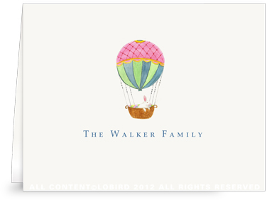 Hot Air Balloon With Easter Rabbit - Folded Note Cards