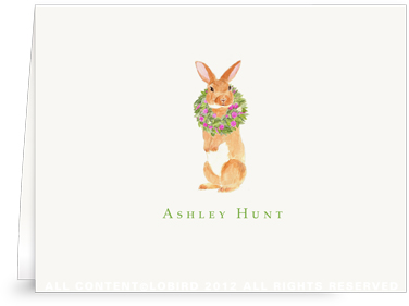 Brown Rabbit with Peony Wreath - Folded Note Cards