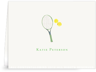 Green Tennis Racket - Folded Note Cards