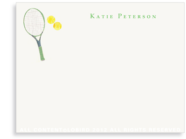 Green Tennis Racket - Flat Note cards