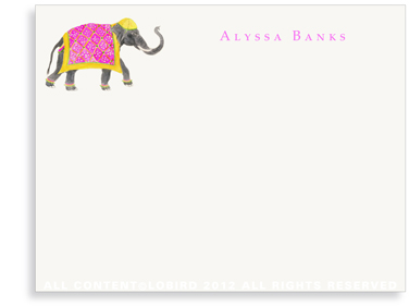 Festive Elephant with Bead Tapestry - Fuchsia - Flat  Note Cards