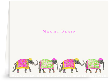Festive Elephant Spring Parade - Folded Note Cards