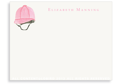 Pink Riding Helmet - Flat Note cards
