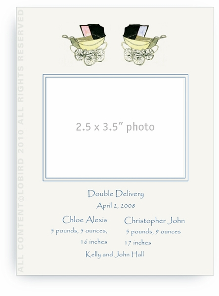 Twin Blue Vintage Baby Carriages - Baby Announcements