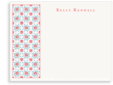 Talavera Tile - Red/Turquoise - Flat Note Cards