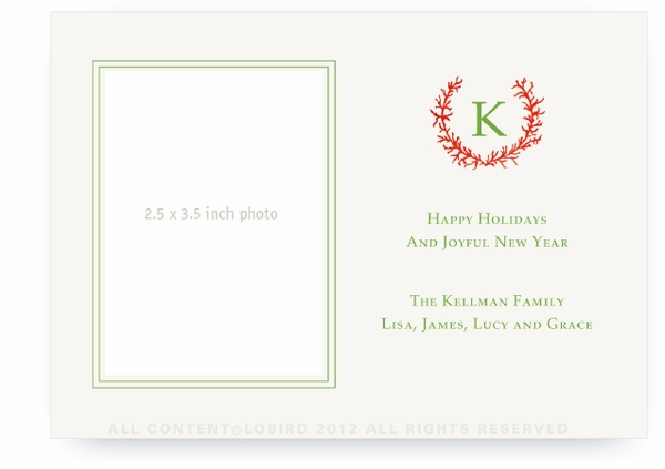 Coral Monogram Crest - Flat Holiday Card - Landscape