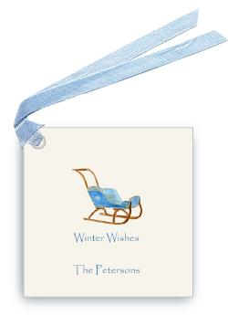 Vintage Blue Child's Sled - Gift Tags