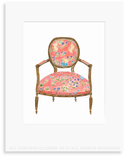 French Armchair - 8 x 10 Print in 11 x 14 Mat