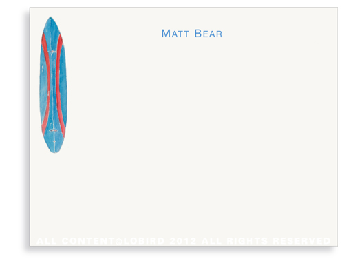 Bear Surfboard - Flat Note Cards