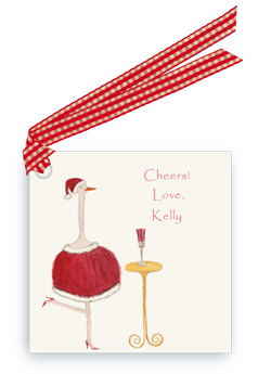Holiday Ostrich with Champagne - Gift Tags