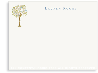 Italian Blue Fruit Tree with Bird - Flat Note cards