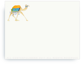 "Festive Camel - Aqua Blue - Non-Personalized Note Cards (4.25"" X 5.5"")"