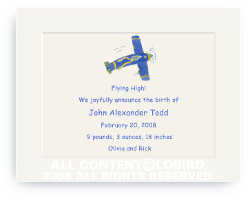 Lion Flying Plane - Baby Announcements