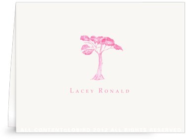 Pink Toile Tree - Folded Note Cards