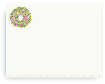 """Spring Wreath - Non-Personalized Note Cards (4.25"""" X 5.5"""")"""