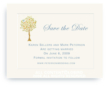 Tangerine Tree with Birds - Save the Date Cards